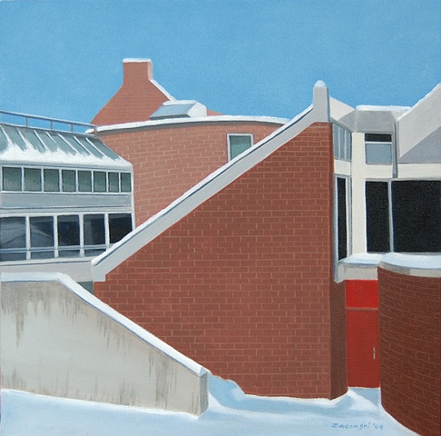 oil painting of roof NYSCC at Alfred University School of Art & Design building, Harder Hall