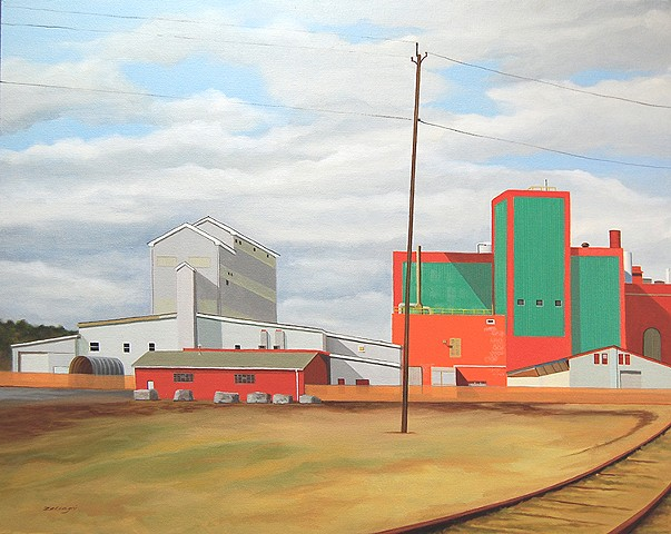 Oil painting of Cargill Salt Mine in Watkins Glenn, NY