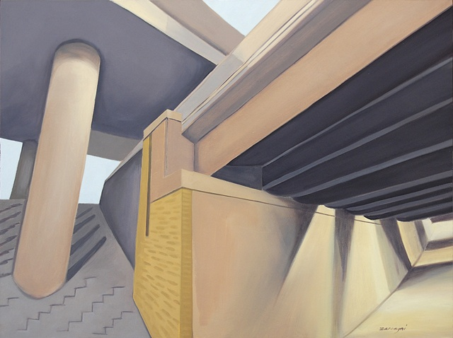 oil painting on panel of highway underpasses and overpasses near Rochester, NY