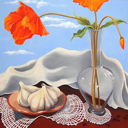 oil painting, still life, poppies, floral, garlic, ants, insect