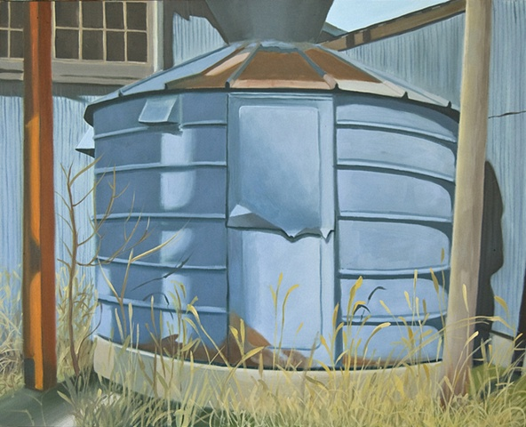 oil painting of abandoned grain silo in Kansas