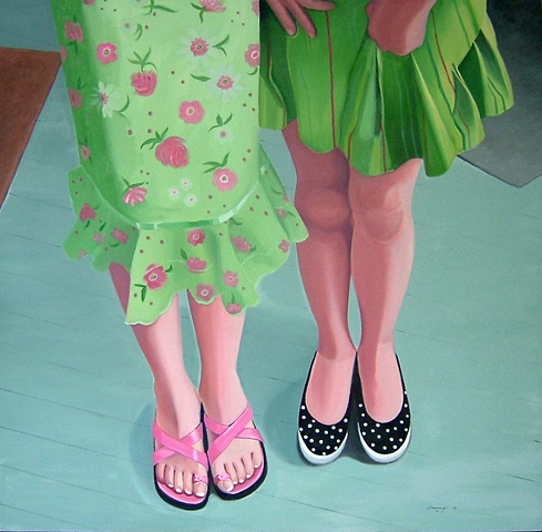 oil painting of little girl's shoes, shoe portrait series