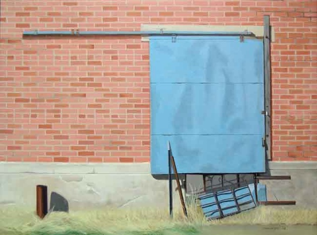 oil painting of a sliding door in abandoned warehouse in Kansas