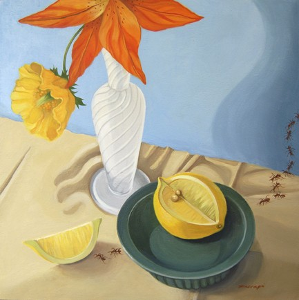 oil painting of a orange lily, yellow poppy, and lemon with ants