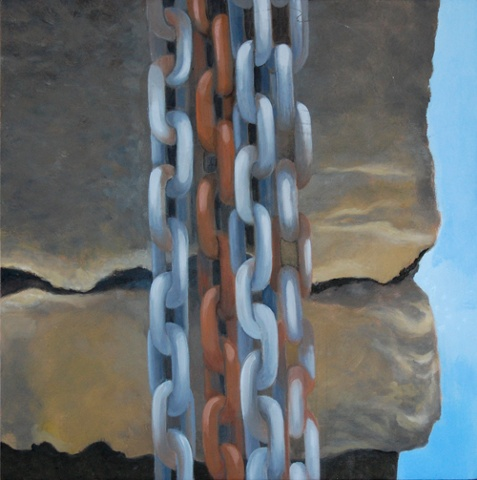 oil painting of chains