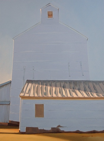 oil painting of grain silo in Kansas