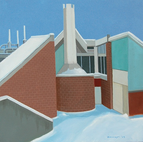 oil painting of roof of NYSCC at Alfred University School of Art & Design building, Harder Hall