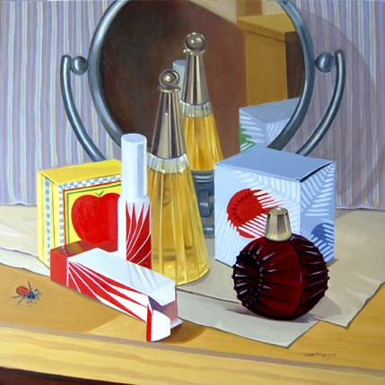 still life with insect, avon bottles and mirror showing reflectivity and transparency