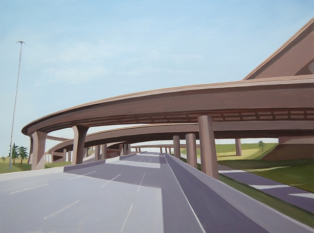 oil painting landscape with highway overpass/underpass, near Los Angeles