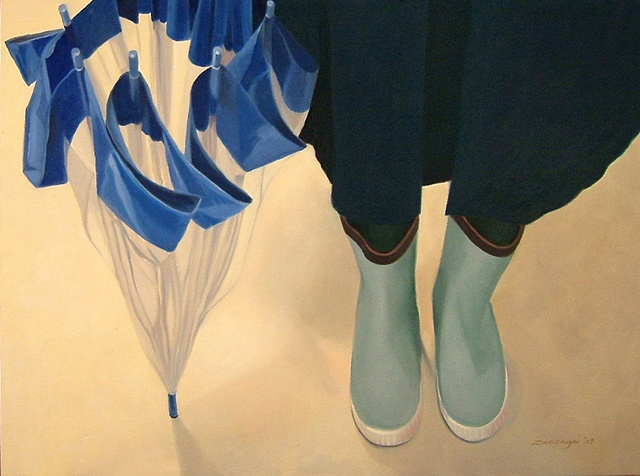 oil painting of blue/green rubber boots and umbrella, shoe portrait series