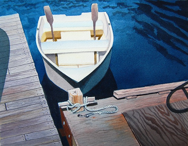 Watercolor painting of Maine skiff.