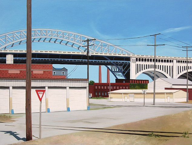 oil painting on panel, architectural subject, image from Cleveland Flats in Cleveland, OH