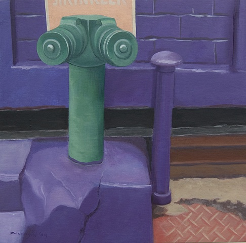 oil painting of fire hydrant in Manhattan, NY