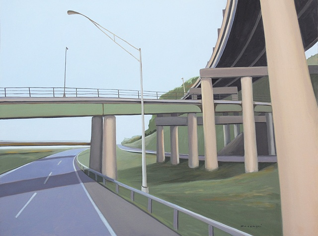 oil painting on panel of highway underpasses and overpasses
