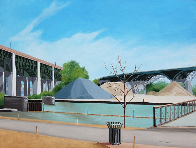 architectural oil painting of bridges in the Cleveland Flats section of Cleveland, OH