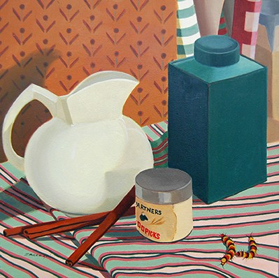 oil painting, still life, pitcher, cinnamon sticks, caterpillar