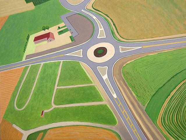 abstract oil painting of aerial view of highway interchanges
