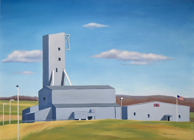 oil painting of American Rock Salt mine, on I390 near Geneseo, NY