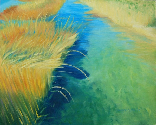 oil painting of water and reeds in an inlet, Bayville, NY