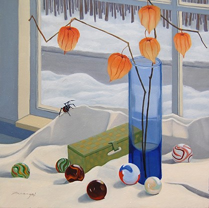 oil painting, still life, Japanese lanterns, marbles, floral, spider, interior