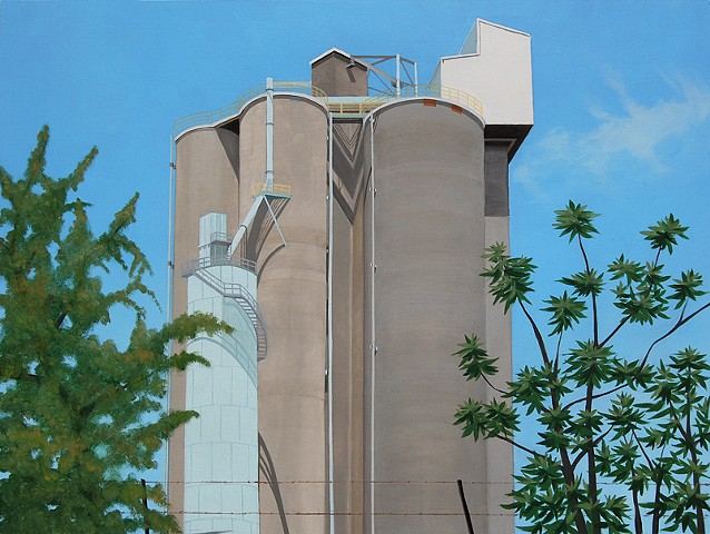 architectural oil painting of grain silos in the Cleveland Flats section of Cleveland, OH