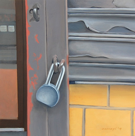 oil painting of padlock on door  on street in Manhattan, NY