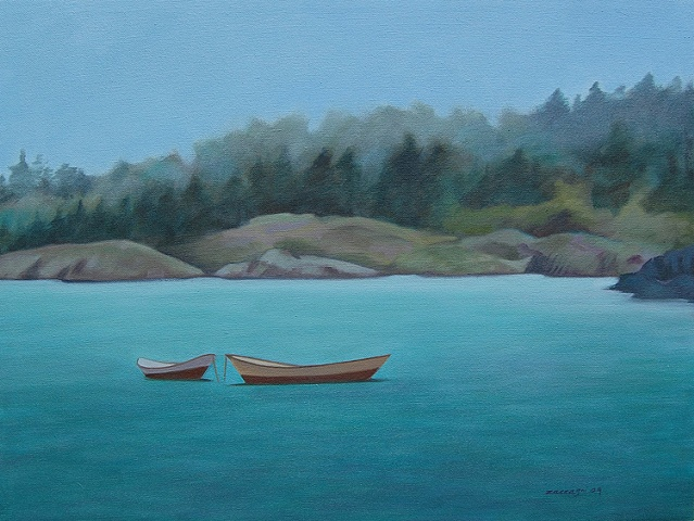 oil painting of two skiffs, boats, off shore, Monhegan Island, Maine