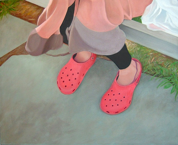 oil painting of red crocs, shoe portrait series
