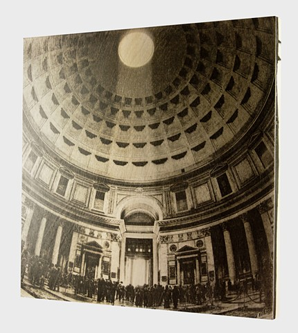 Pantheon, Rome, 2013. Hand Printed in Platinum Palladium on Cradled Birch Wood
