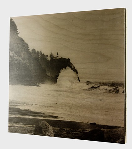 Rough Seas at Cape Disappointment. Hand Printed in Platinum Palladium on Cradled Birch Wood