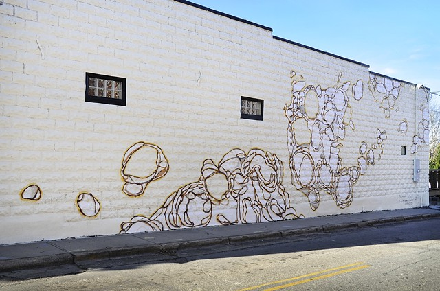 "Side angle shot of the Biscuit Head mural, ""Movement Pattern"""