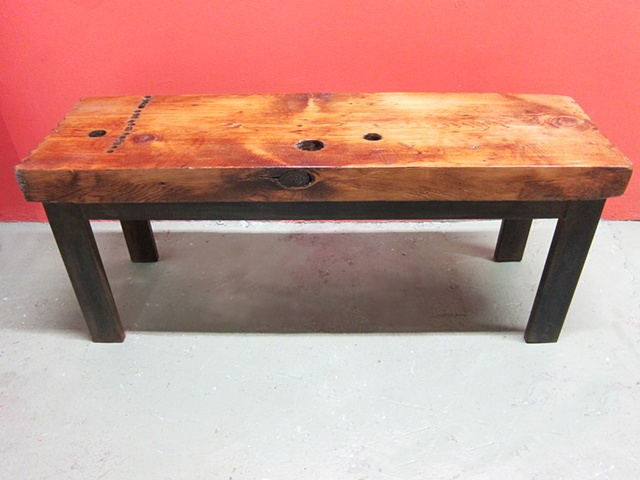 table steel metal recycled wood reclaimed