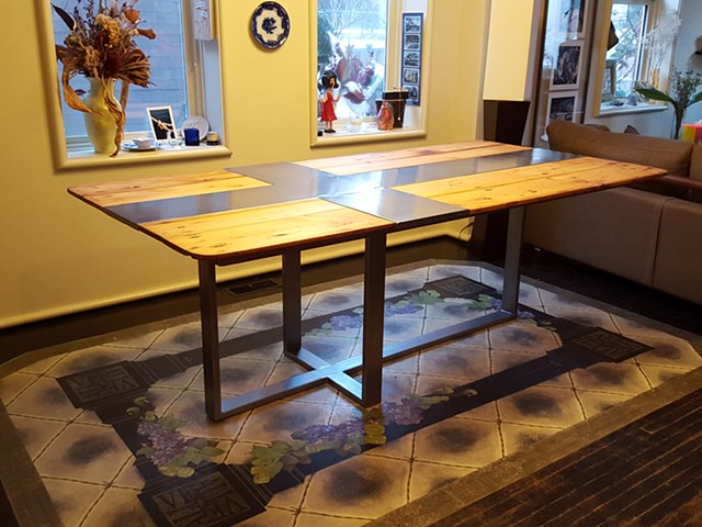 Recycled Wood and Steel Tables