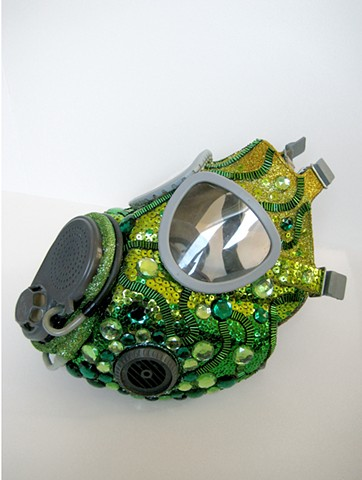 gas mask, rhinestones, sequins, Surrender Dorothy