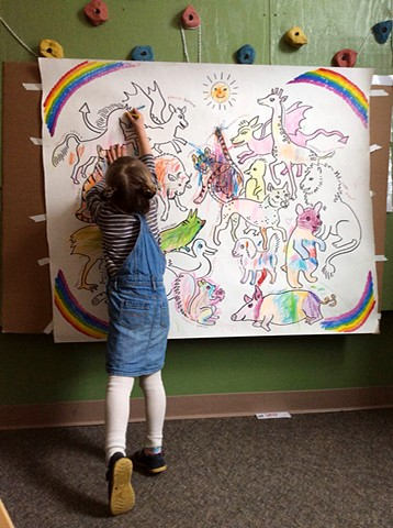 Favorite Animals Mural with Youth and Family Outreach Pre-K class