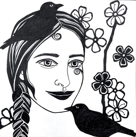 Woman with birds & blossoms
