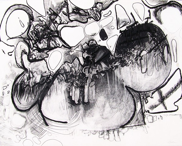 photo of abstract charcoal drawing by Matthew Stemler