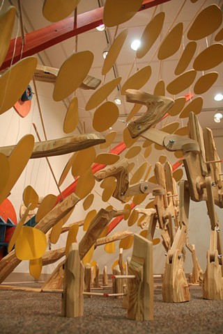 Image of A Skittish Crossing an installation by Matthew Stemler at Waynesburg University's Benedum Fine Arts Gallery