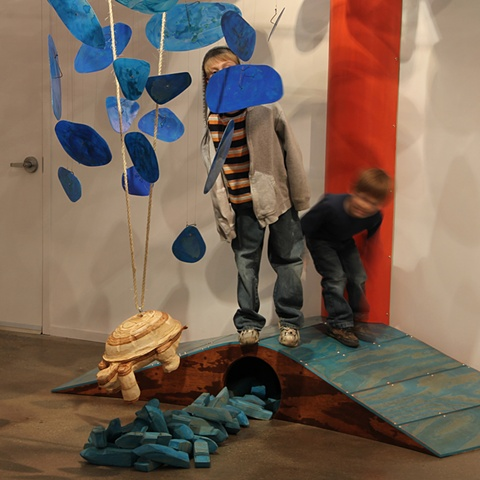 Image of Flotsam installation by Matthew Stemler artist at LGTripp Gallery sculpture wood steel abstract