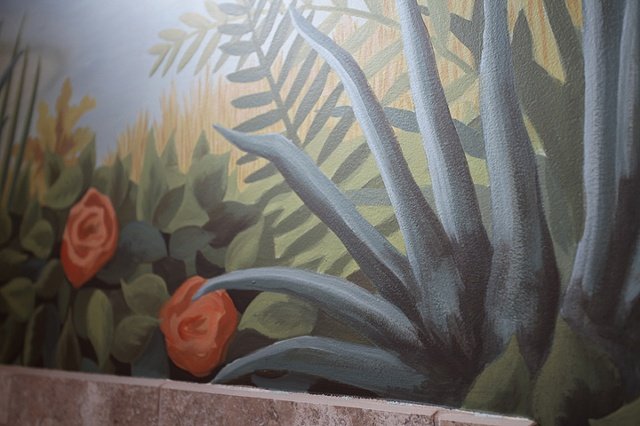 close up detail of seascape mural paint by the design deli