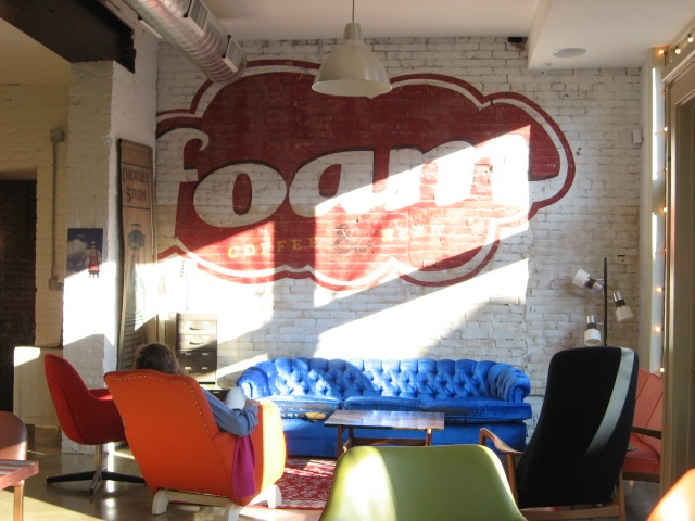Foam Cafe wall mural.