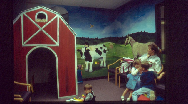 waiting room farm mural paint by the design deli