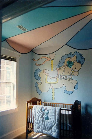 nursery room carousel paint by the design deli