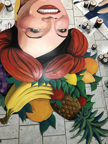 Trops mural cut out, painting progress