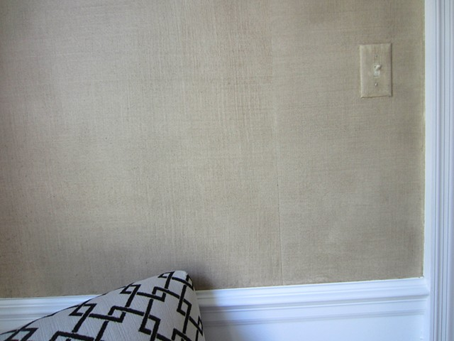 Gold linen 'panels' in dining room- detail.