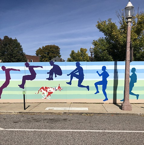 jumping over dog, latex paint mural