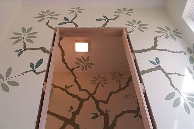 detail olive tree mural paint by the design deli