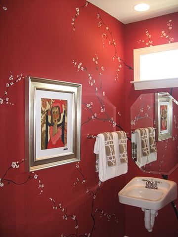 bathroom with cherry branches and blossoms paint by the design deli