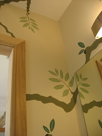 olive tree powder room paint by the design deli