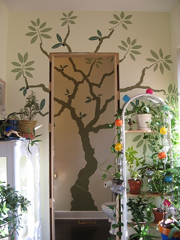 Powder room olive tree.